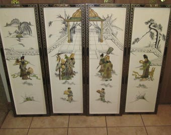 Set of 4 Vintage Beautiful Chinese Jade Stone White Lacquer Wall Panels