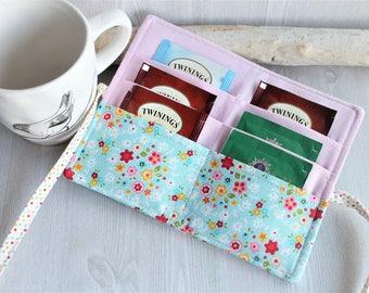 Spring mini floral Tea wallet, Travel Tea bag holder, Organizer for teas, womens gift idea, handmade Tea wallet