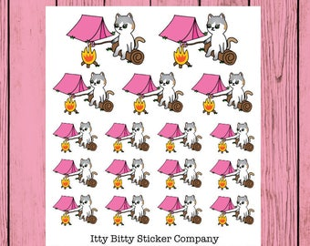 Mauly goes Camping - Hand Drawn IttyBitty Kitty Collection - Planner Stickers