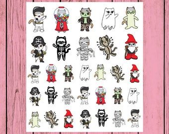 Halloween Mauly Sampler Sheet - Hand Drawn IttyBitty Kitty Collection - Planner Stickers