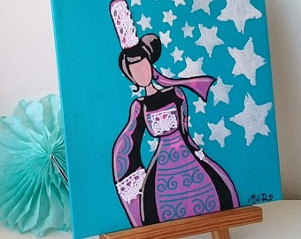 Painting, * village in the stars *, Acrylic paint, Star, gift for her, fancy decoration table