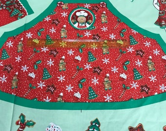 Sew your own Girl's gingerbread christmas apron panel