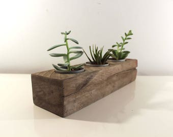 "14"" Reclaimed Wood Succulent Planter, Rustic Home Decor, Herb Garden Table Center Piece"