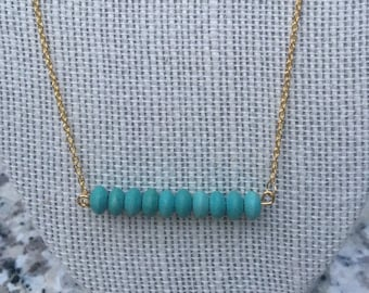 Turquoise Clay Beaded Dainty Chain Necklace