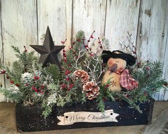 Primitive Snowman and Black Star Christmas Arrangement, Christmas Centerpiece, Holiday Arrangement, FAAP, Farmhouse Christmas