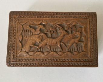 "Vintage Indonesian Javanese Carved Wood carved box ""The Hunt"""