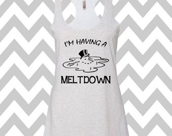 I'm Having A Meltdown Christmas Tank Top Flowy Racerback Tank Top Ugly Christmas Tank Top Funny Holiday Party Tank Top Snowman Tank Top