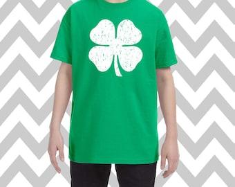 Youth Shamrock Shirt St Patricks Day Shirt Unisex Shamrock Shirt Kids Graphic Tee St Patrick's Day Distorted Shamrock Kids Tee Irish Tee