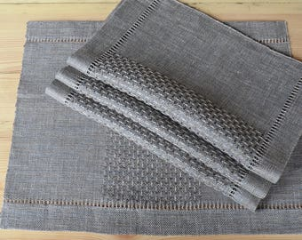 Set of 4 Handwoven Placemats Linen Placemats Table Placemats