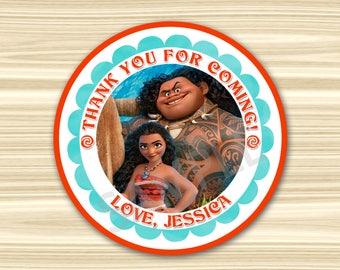 Moana Favor Tag. Moana Thank You Sticker. Moana Thank You Tag. Vaiana Favor Tag. Vaiana Sticker. Diy Moana Birthday Party. 2.5 inch Circle.