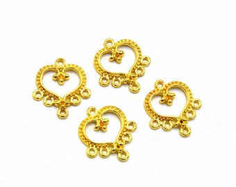 4 connectors chandelier heart shiny 19 mm - Connectors chandelier heart shiny gold / antique gold