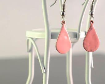 pink small teardrop enamel earrings