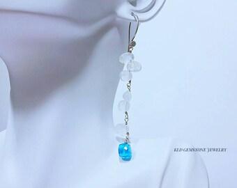 Rainbow Moonstone Swiss Blue Quartz Bali Sterling Silver Earrings Moonstone June Birthstone shoulder dusters