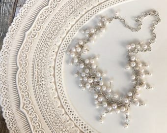 Bridal Jewelry Bride Wedding Accessories Freshwater Pearls Swarovski Crystal Sterling Silver Cluster Necklace & Earrings Set Prom Jewelry