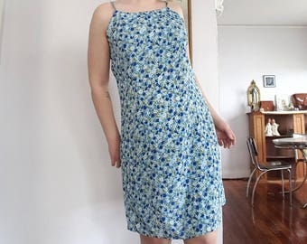 Vintage Blue Floral Spaghetti-Strap Dress by Rave City