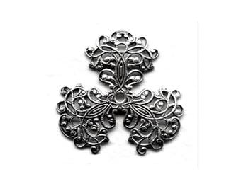 Three Petal Filigree Oxidized Silver 36 mm