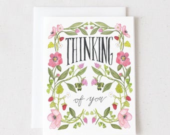 Thinking of You / Watercolor Greeting Card / Blank Greeting Card