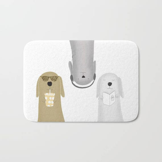 Funny Dogs Bath Mat Bathroom Rugs Decor Cute Custom Small