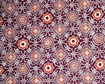 10% Off On Maroon, Orange and Cream Floral Hand Print Cotton Ajrakh Fabric