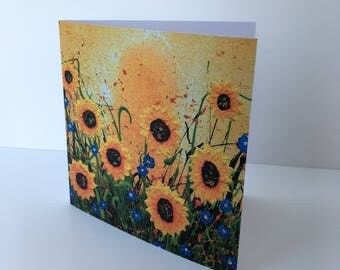 Sunflower Escape blank greeting cards