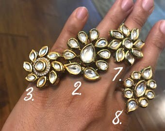 Adjustable Kundan Finger Rings