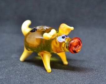 Blown glass pig figurine animals glass pig miniature art yellow glass pigs toy murano piggy animals tiny small figure glass white pigs gifts