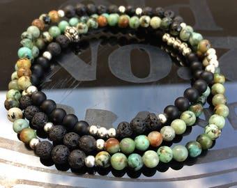 Bracelet mixed three rounds, onyx, lava, turquoise, silver