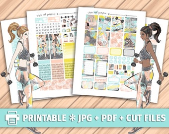 FITNESS GOALS Printable Planner Stickers/for use with Erin Condren/Weekly Kit/Cutfiles Summer Workout Exercise Rose Gold Glitter Floral