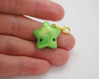 Handmade, polymer clay, pastel green, shimmery, kawaii, star, fashion charms