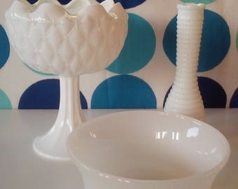 Assorted Collection of Milk Glass-3 Pieces-Brody and Randall Milk Glass