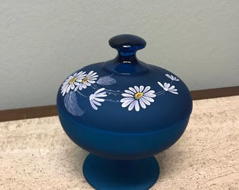Vintage Blue Frosted with White Painted Daisies Apothecary Jar