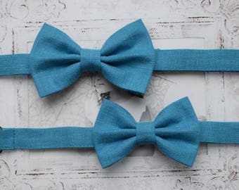 Dad and son bow ties Father and son bow tie set Wedding party bow tie Teal bow tie Father and son gift Family photo props