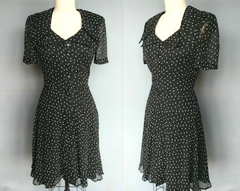 lois / 90s does 40s black silk print dress by jeannene booher / small