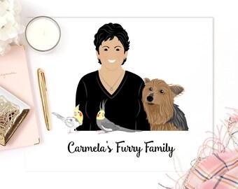 Custom individual women portrait. Christmas gift. Digital illustration. Personalized art, original custom drawing. Memorable gift for her.