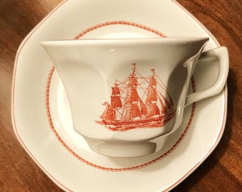 """Vintage Wedgwood Georgetown Collection """"Flying Cloud"""" set for one including saucer & cup! Price is for both pieces!"""