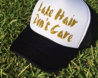 Lake Hair Dont Care Trucker Hat, Lake Hair, Trucker Hat