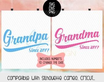 Grandpa Since Svg, Grandma Since Svg, Grandma Est Grandoa Est Svg, Dxf, Png,  Silhouette, Cameo,