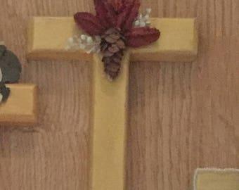 Wood wall cross with natural embelishments