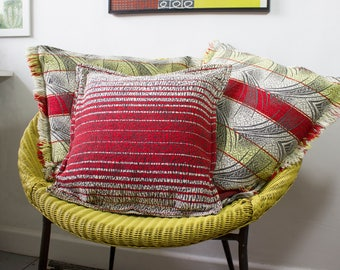 vintage 1950s striped woven cushion covers