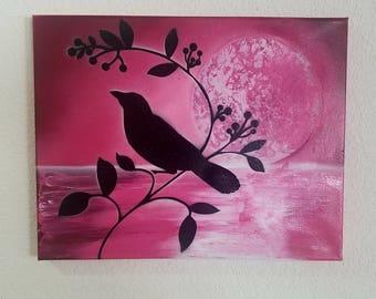 Bird silhouette on canvas