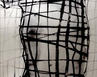 Original painting, abstract modern art, Marcus Dryland, monochrome