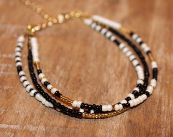 Black and Gold Seed Bead Bracelet