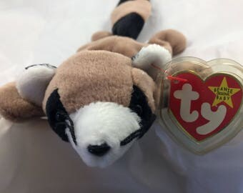 Ty Beanie Baby Ringo the Racoon Born July 14, 1995 Original MWT Gift Quality