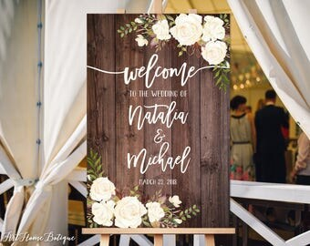 Wedding Welcome Sign, Rustic Welcome Wedding Sign, Welcome To Our Wedding Sign, Wood, White Flowers, Printable Sign, Digital File W177