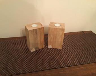 Pair of wooden tea light holders