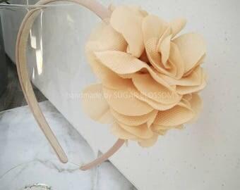 Chiffon flower headband - girls headband - flower girl - hair accessories - handmade by sugrblossom