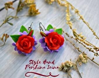 Rose earrings, red roses, red earrings, red pendant, rose pendant, cold porcelain, flower earrings, flower earrings, earrings, gift, for her