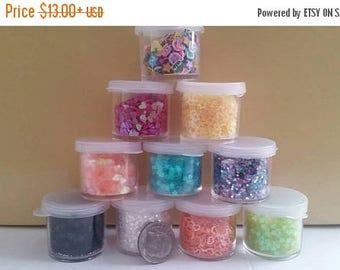 Slime glitter sample lot - Contains iridescent glitters, sequins, fimo slices Great accesories for nail crafts, slime crafts, glitter charms