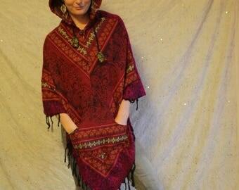 Bohemian Handmade Wool Poncho / hippie poncho / travel poncho / festival poncho / colourful poncho