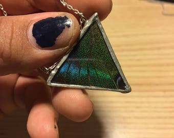 Real Butterfly Wing Necklace (Blue/Green Triangle )